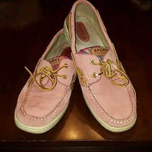 9M Sperry Top Sider Pink Leather with Plaid sz 9